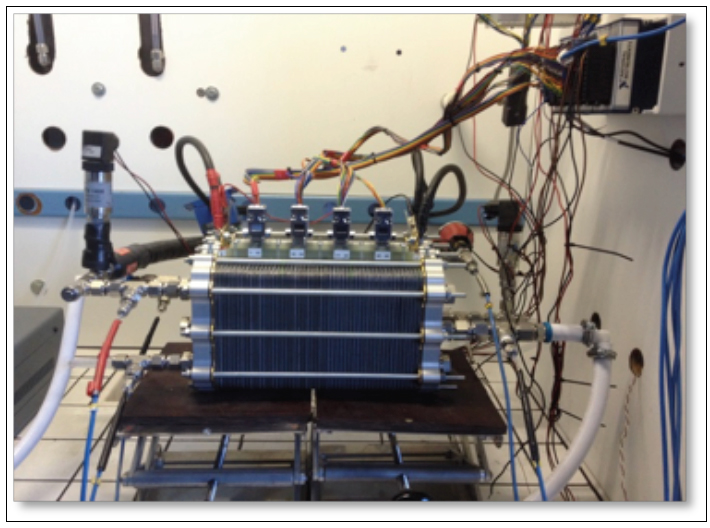 picture of polymer electrolyte fuel cell stack prototype under testing