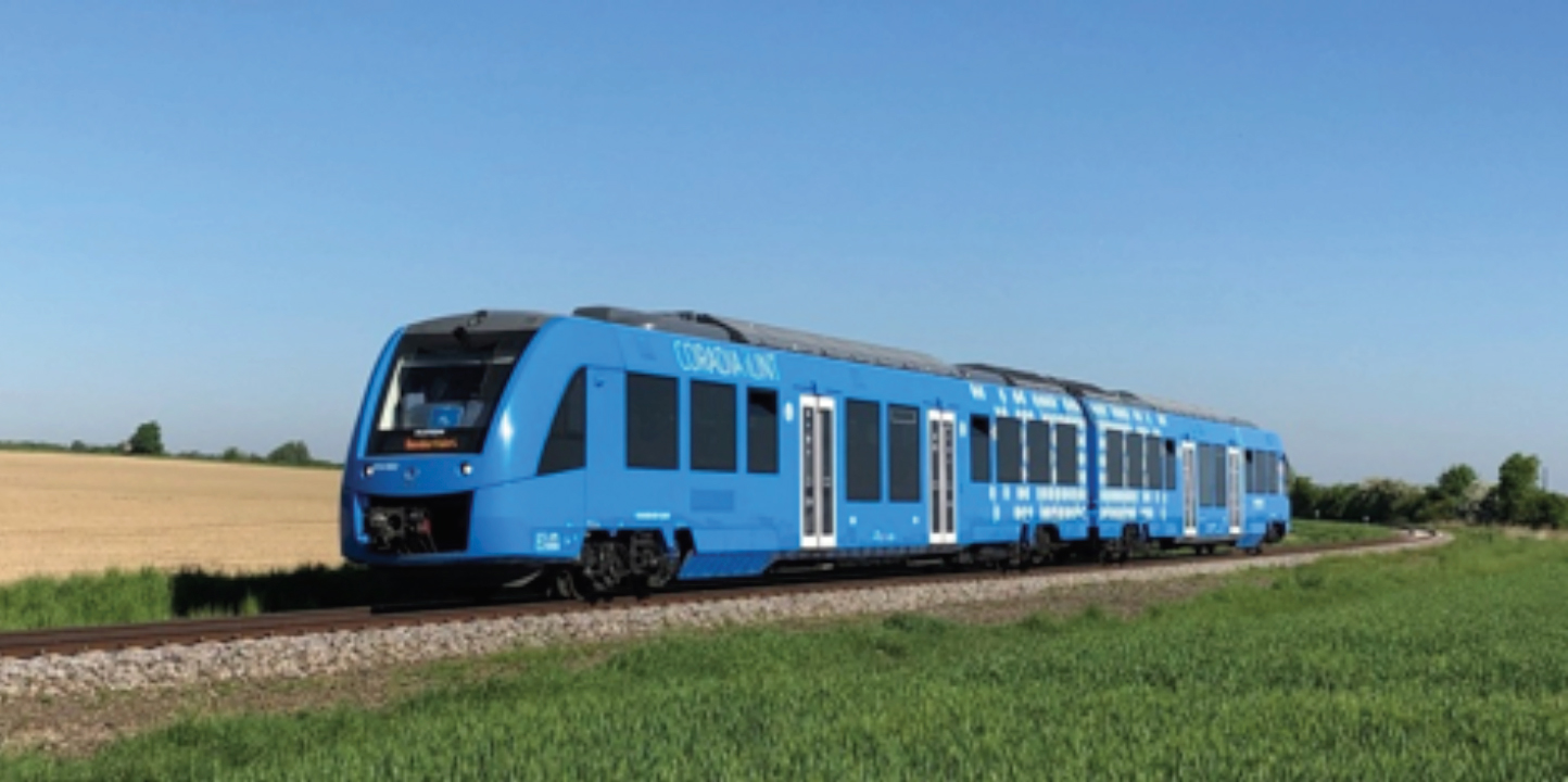 The picture shows the  first fuel cell train realized by Alstom