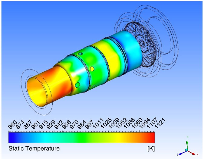 Temperature distribution on the liner inner walls of a micro-gas turbine combustor fed with methane and syngas