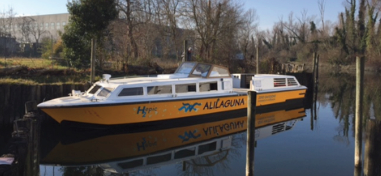 The picture shows a fuel cells passenger boat