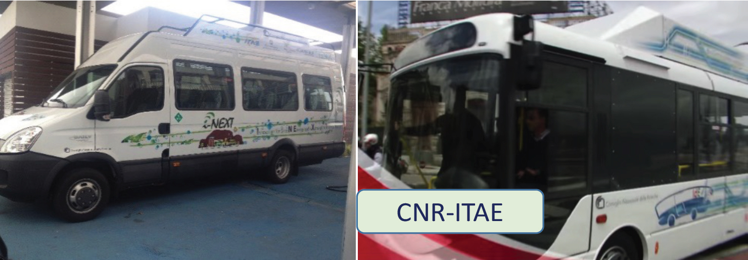 Hydrogen fuel cell city buses under testing on urban paths, developed in the I-NEXT project