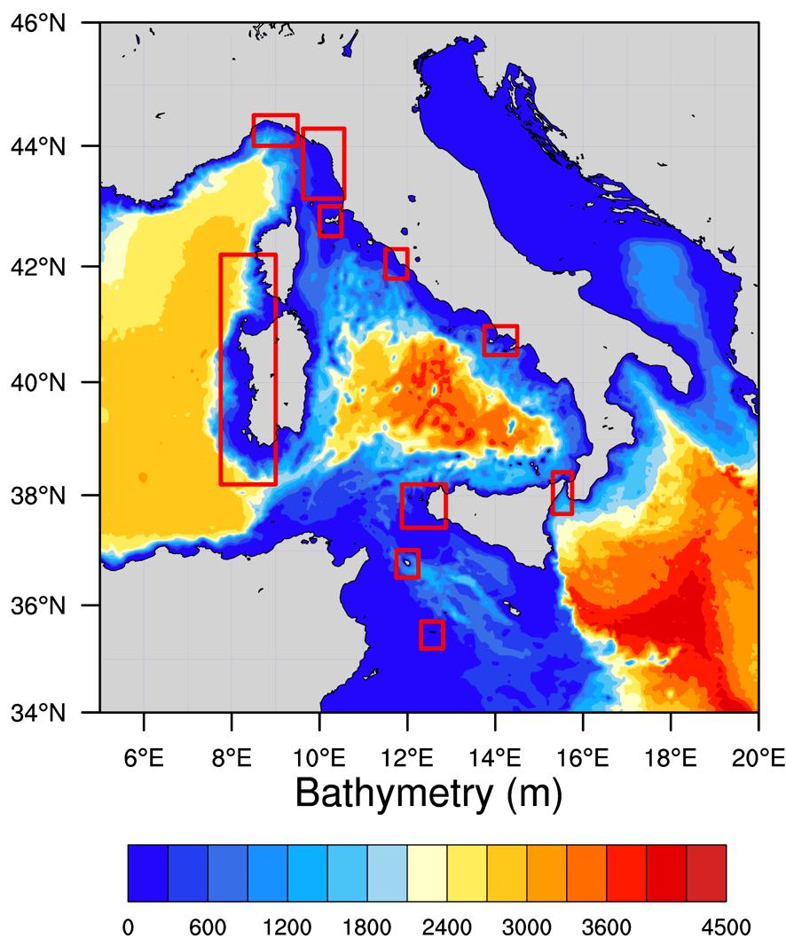 Fig. 1   Batimetria utilizzata dal modello di onde nella zona intorno all'Italia e indicazione dei sottobacini su cui sono disponibili previsioni ad alta risoluzione