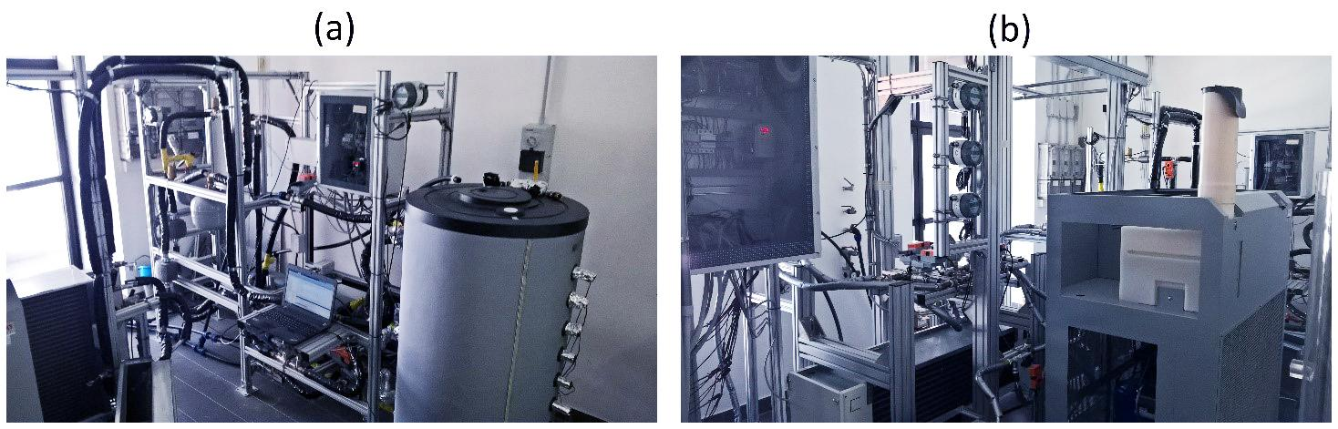 Fig. 1   (a) impianto prove accumulo termico a temperature medio-basse; (b) impianto prove accumulo del freddo