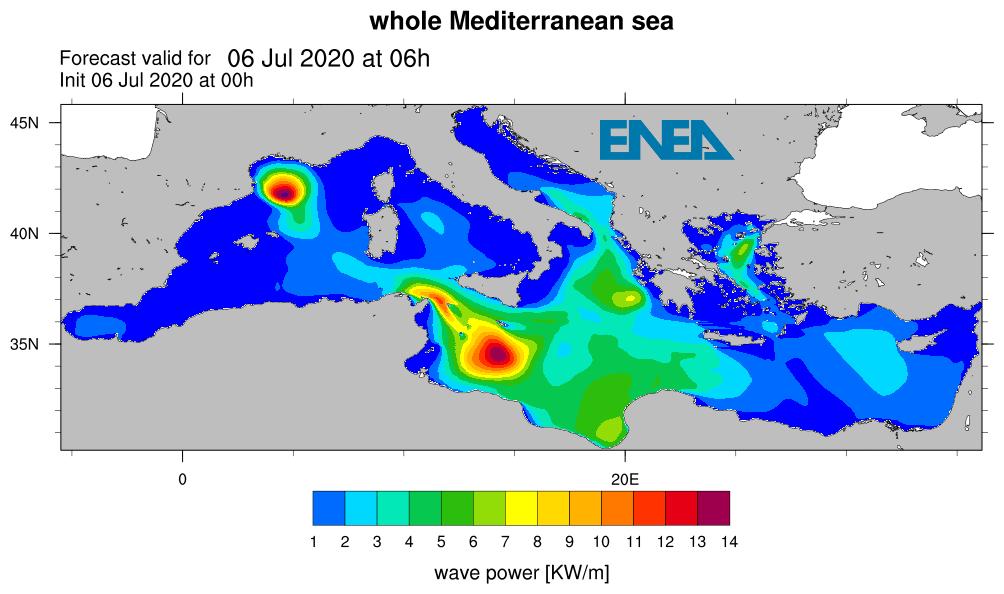 Fig. 2   Esempio di previsione per le ore 6 del 6 luglio 2020 della potenza delle onde per tutto il Mediterraneo tratta dalla pagina web    https://giotto.casaccia.enea.it/waves/