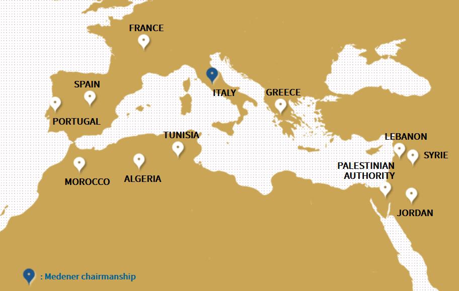 Fig. 1   Paesi membri di MEDENER:  Algeria, Francia, Giordania, Grecia, Italia, Libano, Malta, Marocco, Palestina, Portogallo, Siria, Spagna, Tunisia