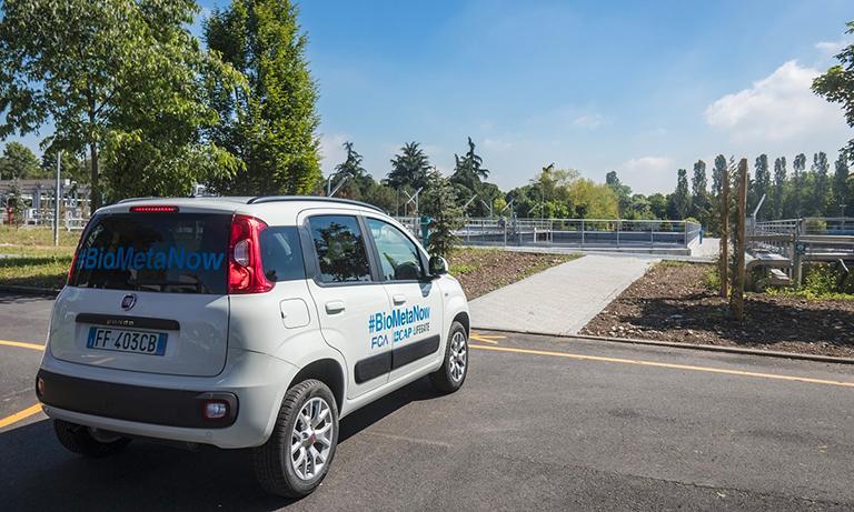 Veicolo alimentato da biometano ricavato dalle acque reflue del depuratore di Bresso-Niguarda (Milano), frutto della collaborazione tra FCA e Gruppo CAP