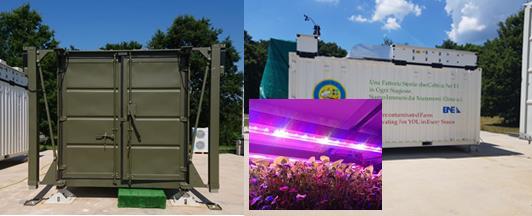 """Esempi concreti di """"fattorie container"""" sviluppate nell'ambito dei Progetti MIG (a sx) e CHEF (a dx). Strutture a contenimento in cui è possibile coltivare le microverdure destinate al consumo umano svincolandosi dall'ambiente circostante."""