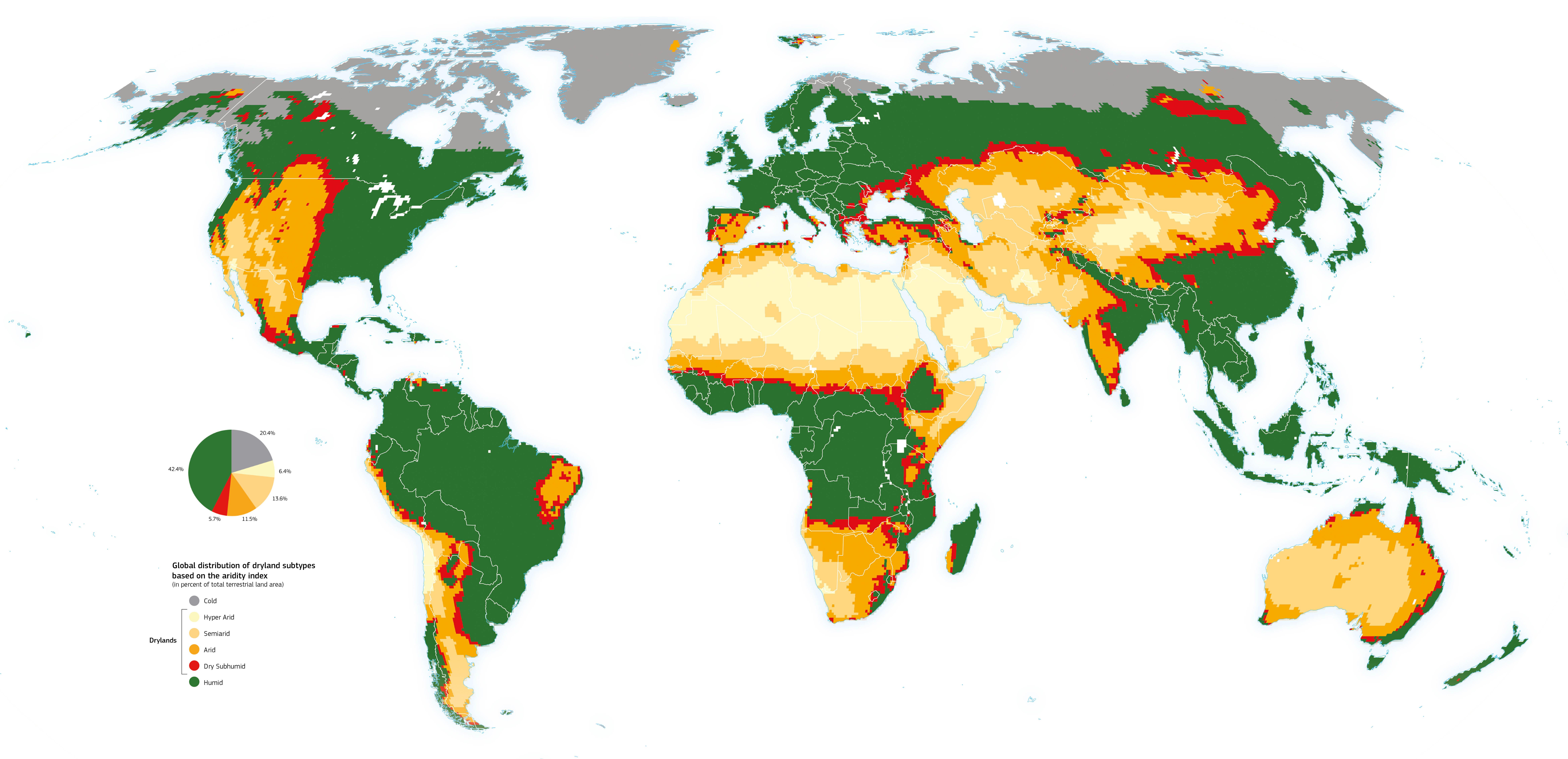 Planisfero con indicazione cromatica delle zone aride