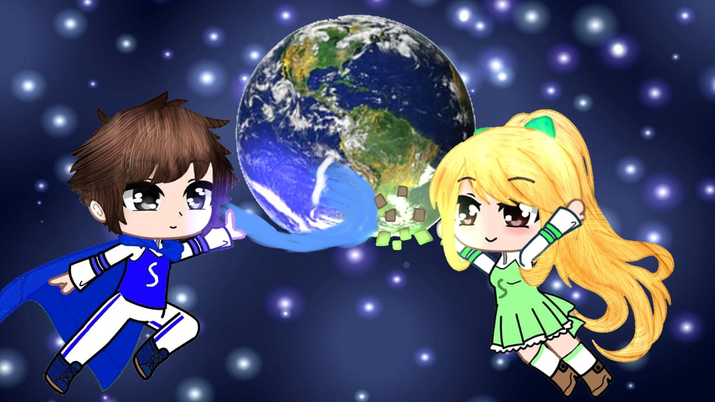 L'immagine mostra Oceano e Flora, i due supereroi della sostenibilità, che sorreggono il Pianeta Terra