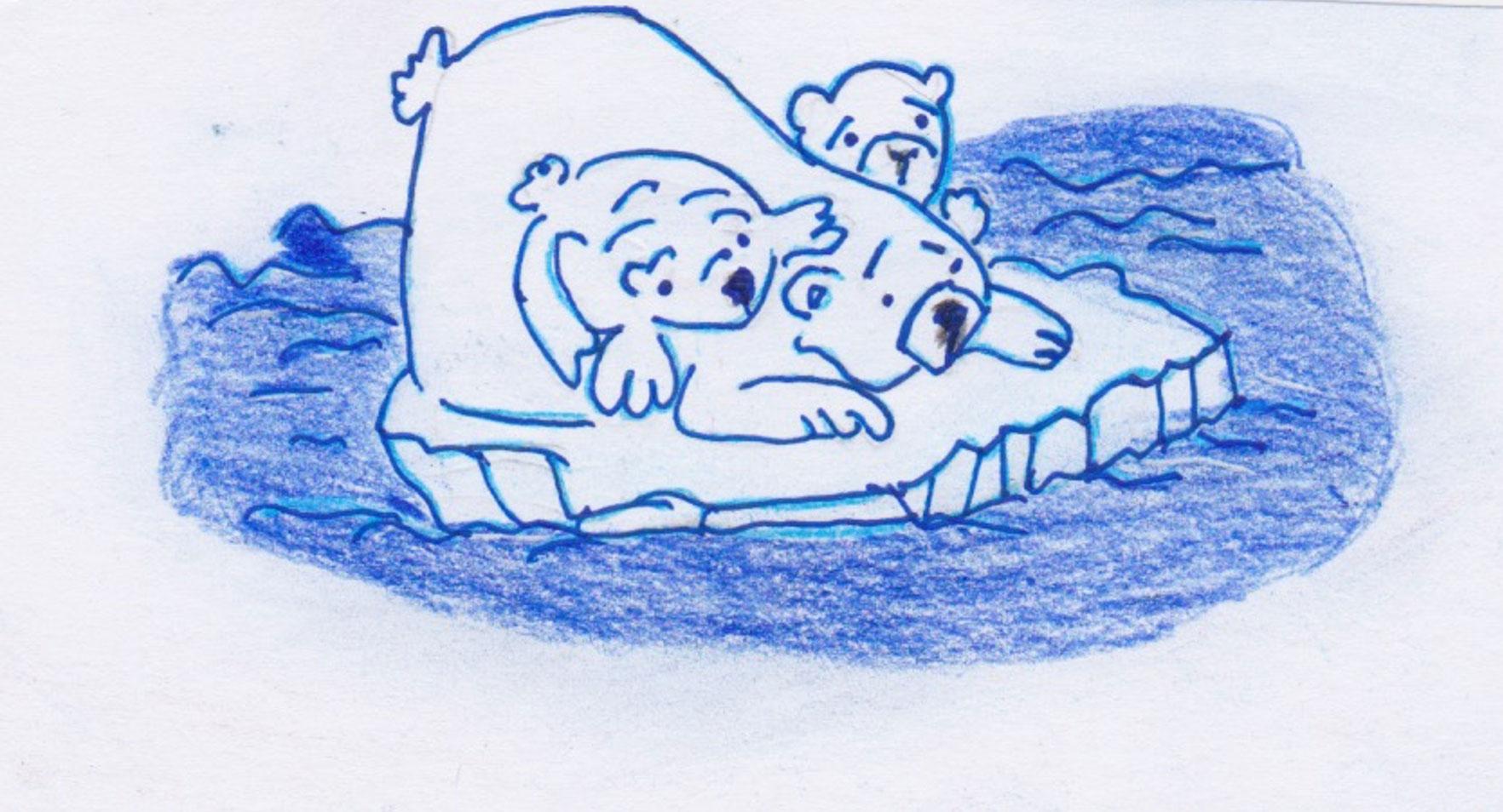 Il disegno raffigura un orso polare con due cuccioli, dall'espressione triste, su una piccola piattaforma di ghiaccio che si sta sciogliendo nel mare